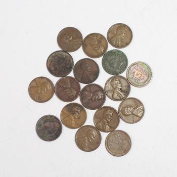 US Pennies, 17 Pieces
