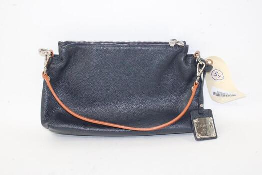 Valentina Italia Leather Navy Blue Bag With Brown Leather Shoulder Strap