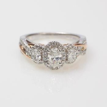 Vera Wang 14k Two Tone Gold .91ct TW Diamond Engagement Ring - Evaluated By Independent Specialist