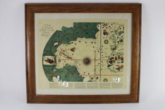 "Vintage Framed ""Map Of The New World""  Artwork"
