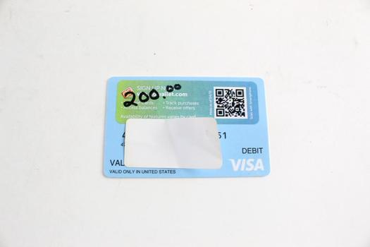 Visa Gift Card, $200.00