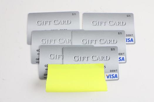 Visa Gift Cards, $150.00, 6 Pieces