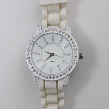White Watch With Clear Stone Accents