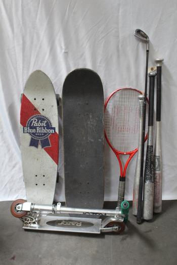 Wilson, Louisville Slugger And More Tennis Racquet, Baseball Bats And More Bulk Lot, 8 Pieces