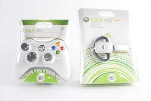 Xbox 360 Gaming Controller And Wireless Headset, 2 Pieces