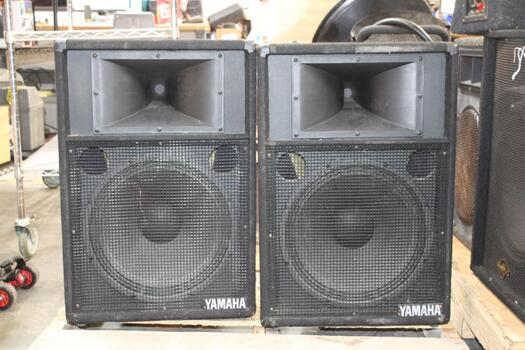 Yamaha Speakers S115IIIEH (2), Stands (2), And Clarus 2R Acoustic Image Amp 501IA