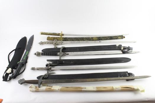 Zombie Killer Machete And Other Fantasy Swords, 6 Pieces