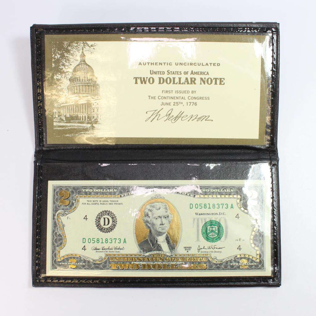 Uncirculated Gold Leaf Two Dollar Bill | Property Room
