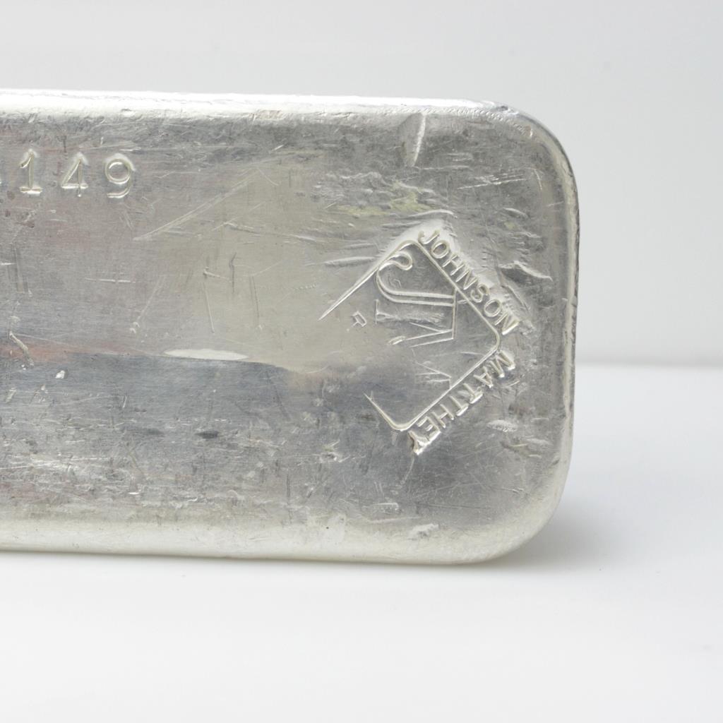 100 Troy Oz Huge Johnson Matthey 999 Silver Ingot Bar