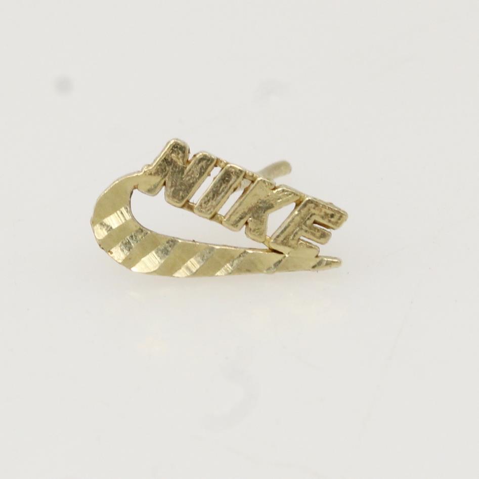 10kt Gold 0 3g Nike Logo Single Earring