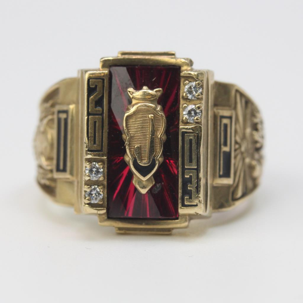 10kt Gold 13 85g Red And Clear Stones Accented 2003