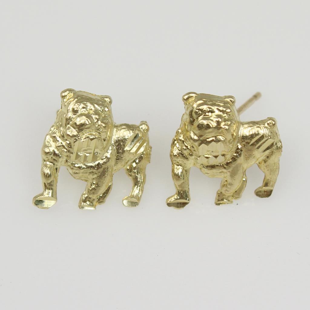 10kt Gold 1 4g Bulldog Earrings