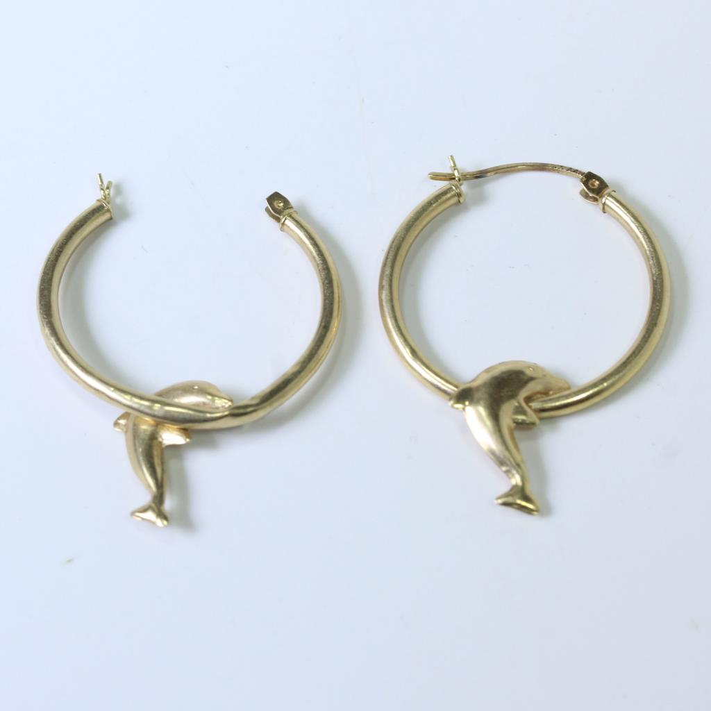 An Image Relevant To This Listing 10kt Gold 1 6g Dolphin Hoop Earrings