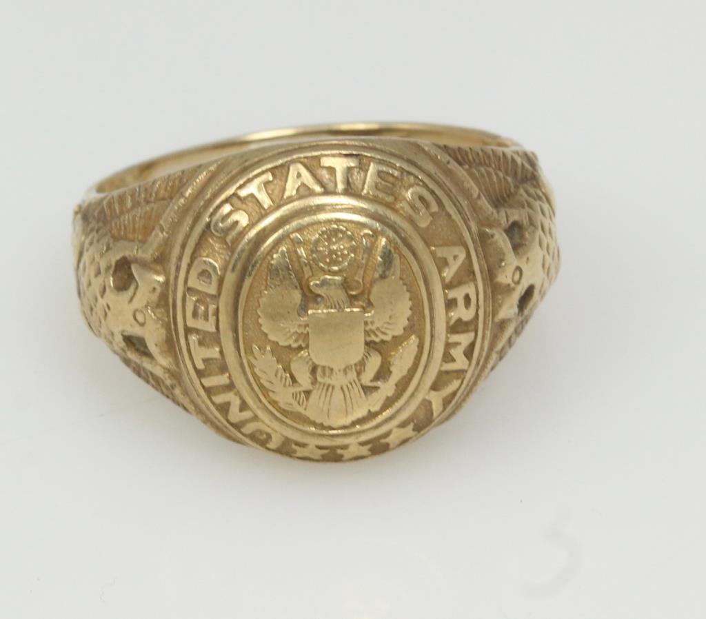 10kt Gold 6 7g Vintage Us Army Ring Property Room