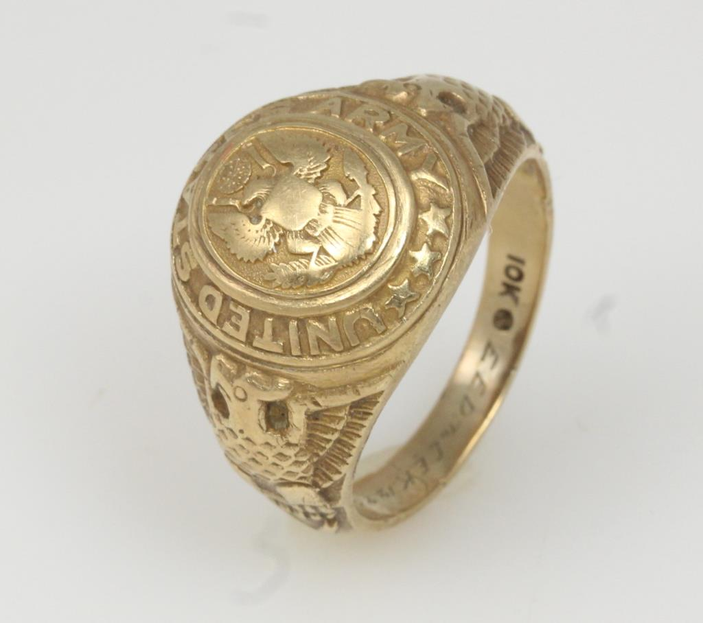 Antiques Us: 10kt Gold 6.7g Vintage US Army Ring