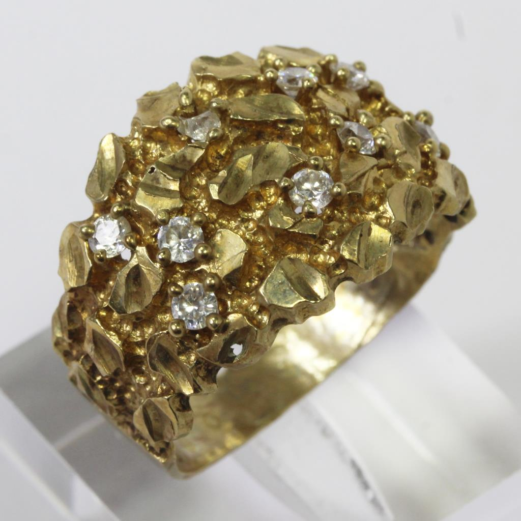 10kt Gold 6g Raw Gold Style Ring With Clear Stones