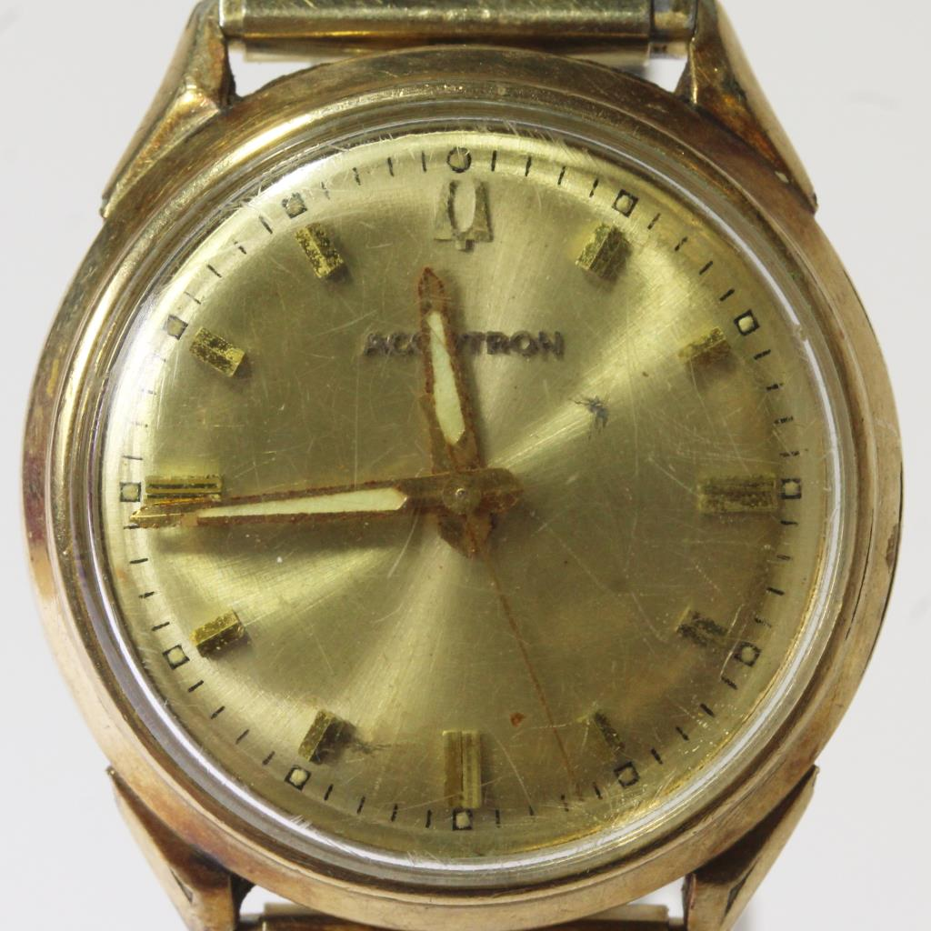 10kt Gold Filled Bulova Accutron Watch With Speidel Band
