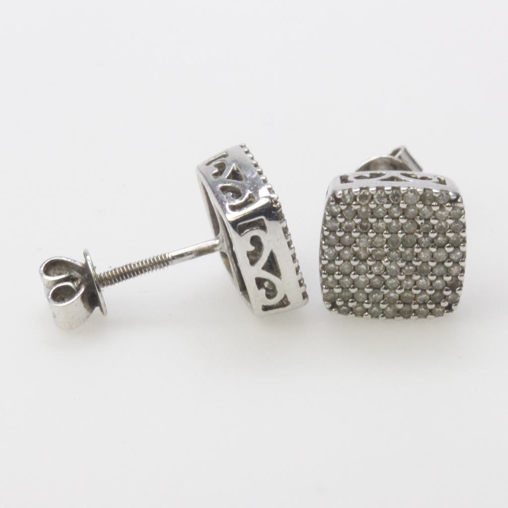 10kt White Gold 2 4g Earrings With Diamond Chip Accents