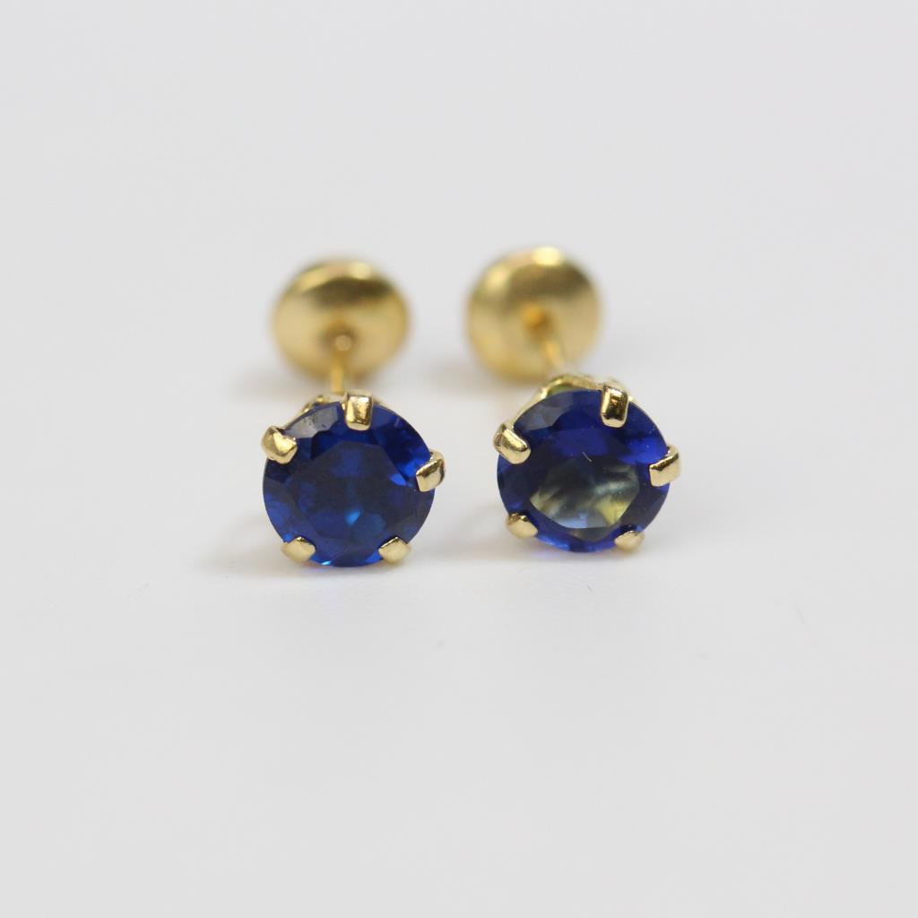 12kt Gold 0 25g Blue Stones Stud Earrings