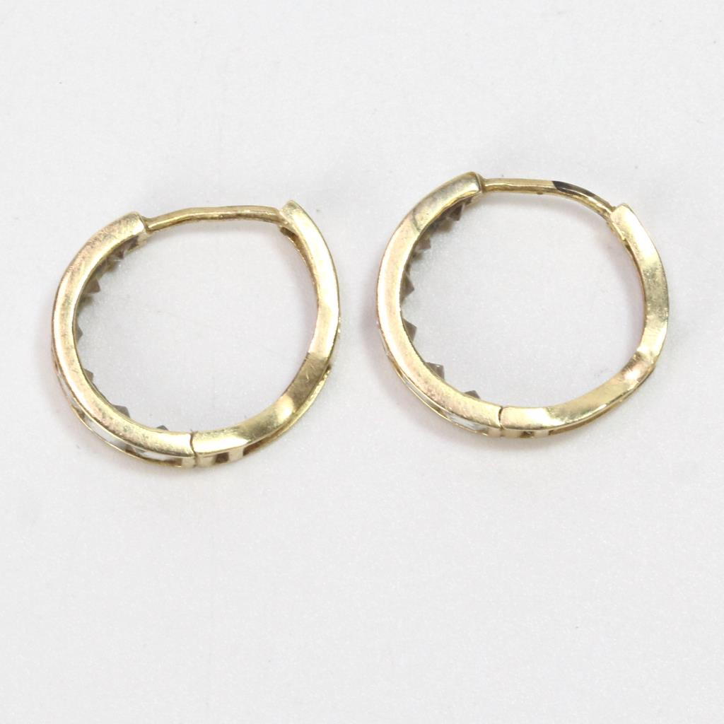 b8eee0137dcb1 13k Gold 2.35g Pair Of Hoop Earrings With Clear Stones | Property Room