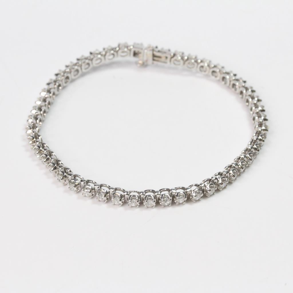 14k White Gold 3 00ct Tw Round Brilliant Cut Diamond Bracelet