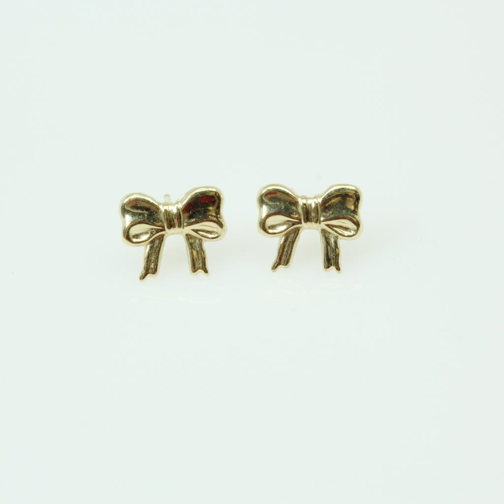 14kt Gold 0 4g Pair Of Bow Shaped Earrings Property Room