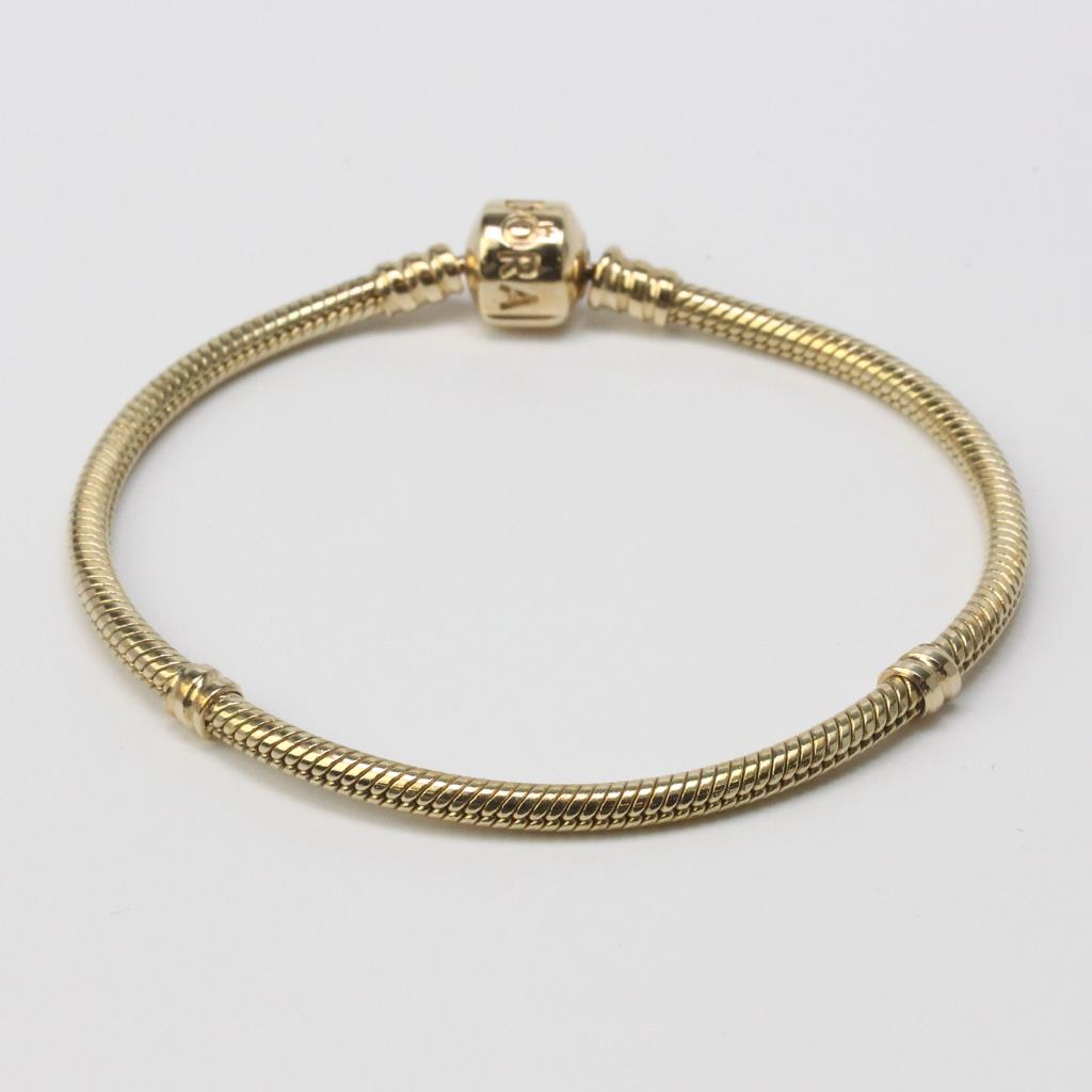 14kt Gold 17g Pandora Moments Clasp Bracelet New In Box