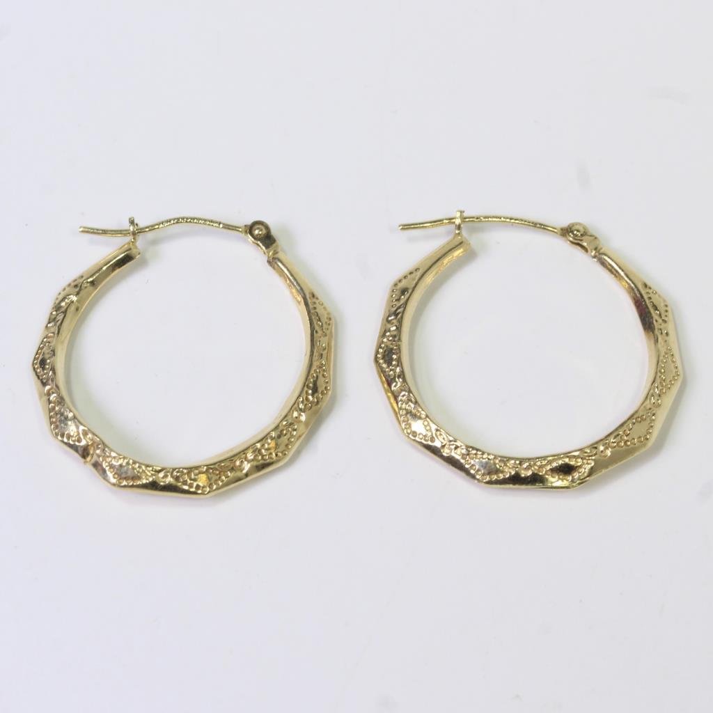 14kt Hollow Gold 1 2g Hoop Earrings