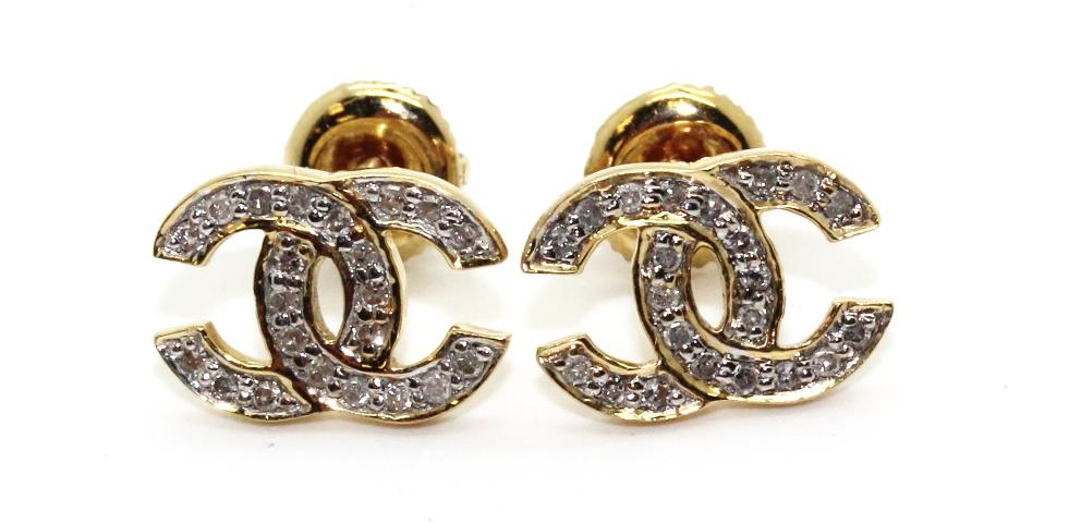 18g 14kt Gold Chanel Logo Earrings With Small Diamond Accents