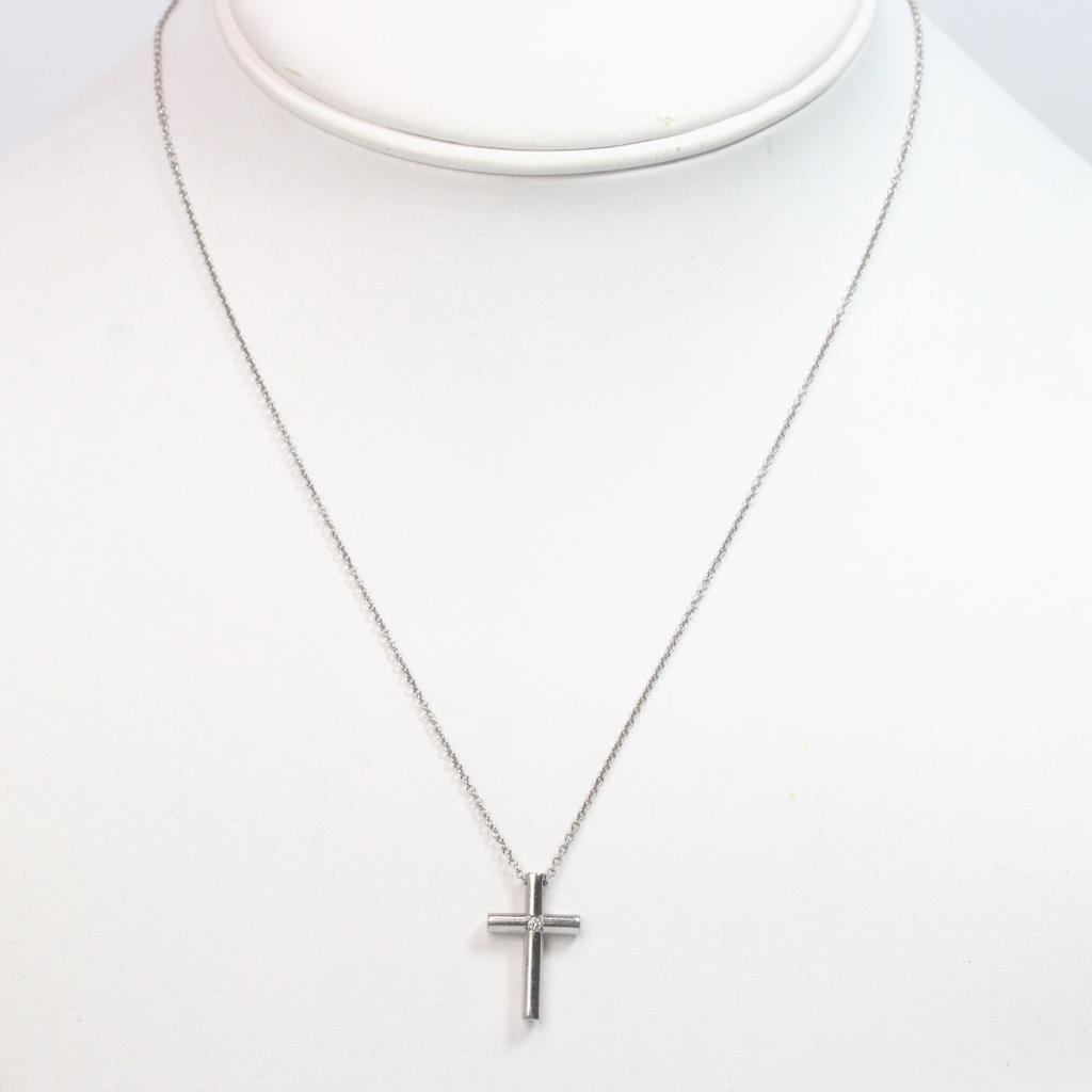 25c812b0d Image 1 of 3. 18k White Gold 3.45g Tiffany & Co Necklace With Diamond Accent