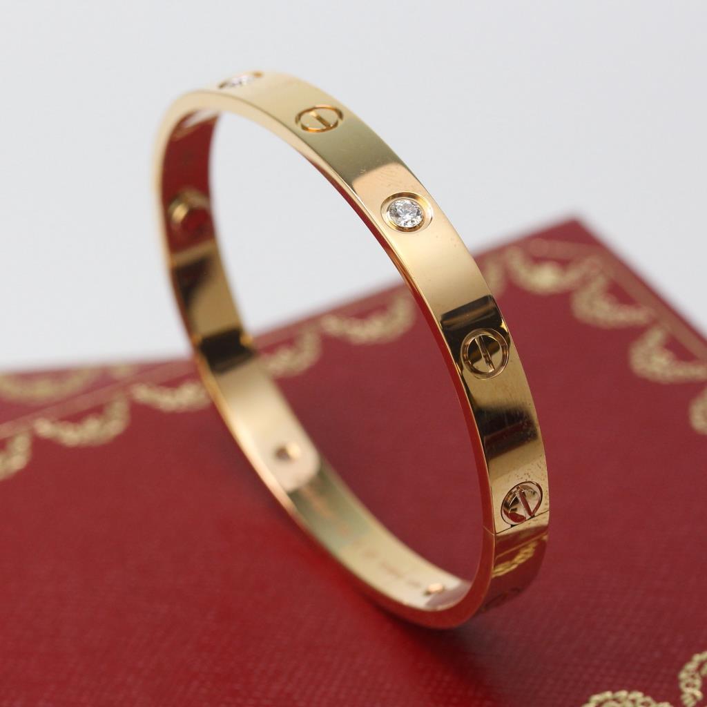 18kt rose gold 31g cartier love bracelet with diamonds. Black Bedroom Furniture Sets. Home Design Ideas