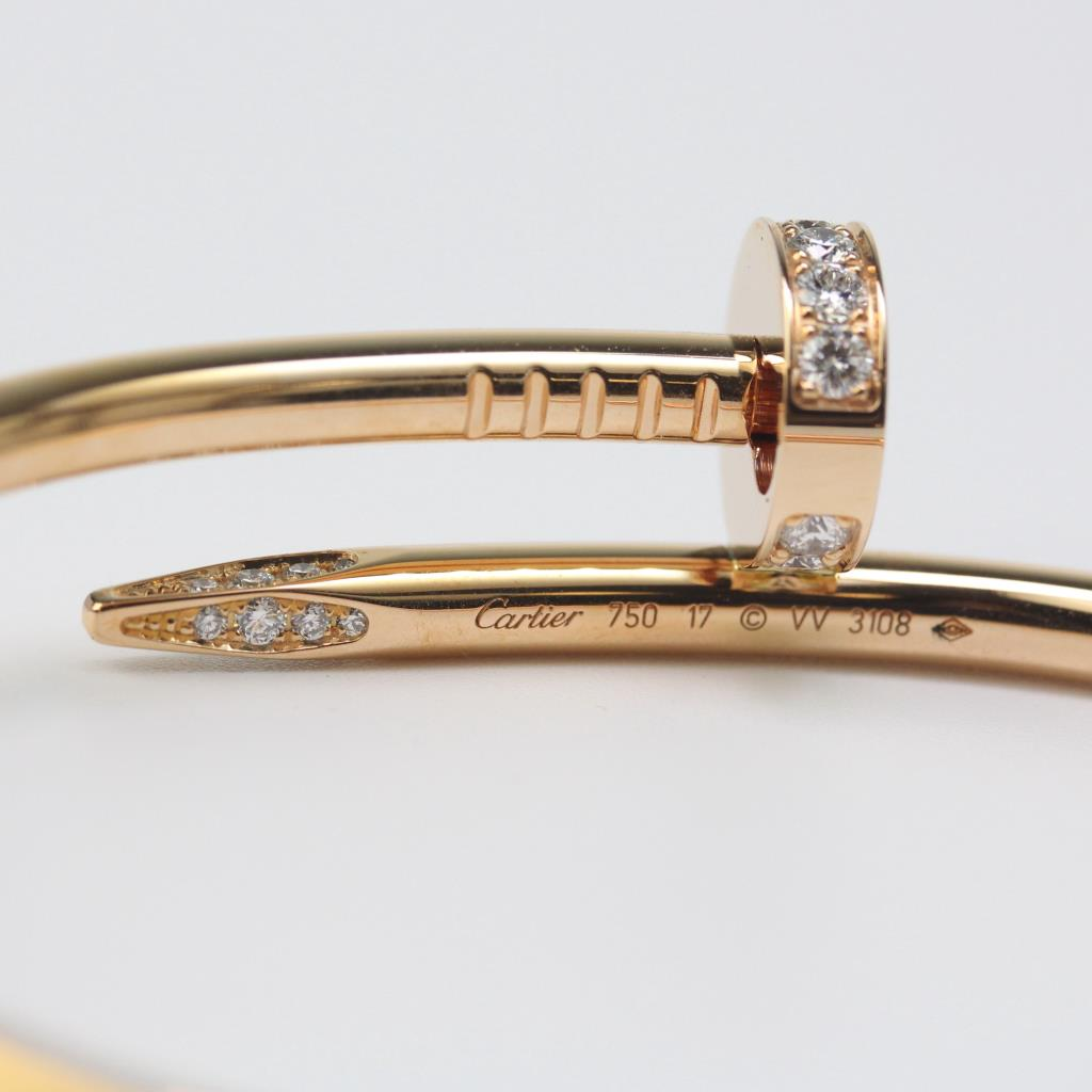 18kt Rose Gold 32g Cartier Diamond Juste Un Clou Bracelet