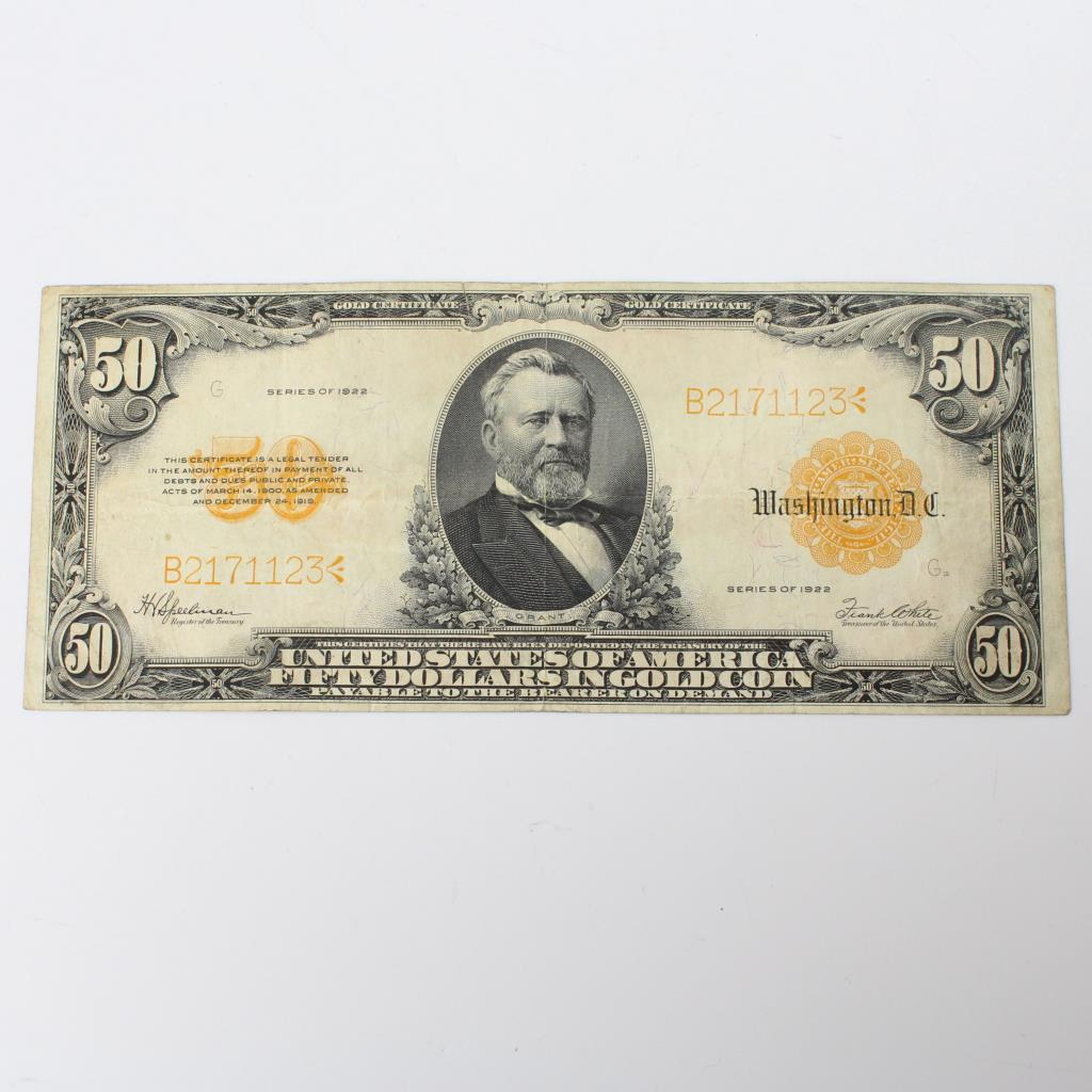 1922 50 Gold Certificate Property Room