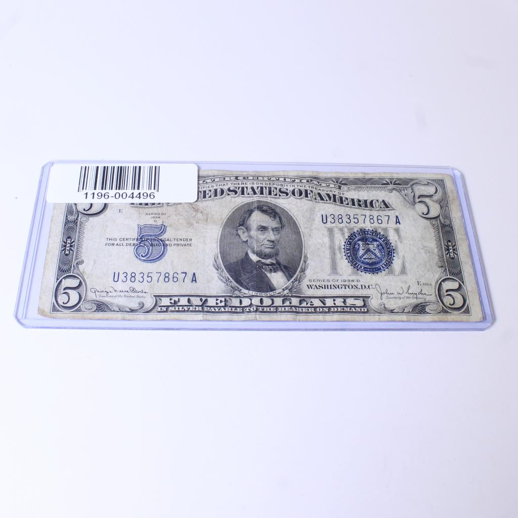 1934 D Blue Seal 5 Silver Certificate Property Room
