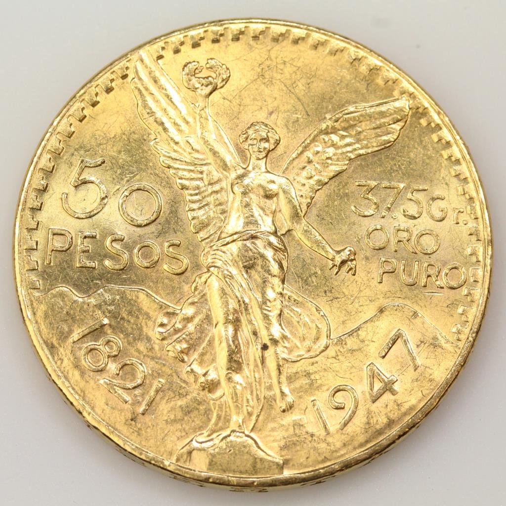 1947 Mexican 900 Gold Centenario Commemorative 50 Pesos Coin