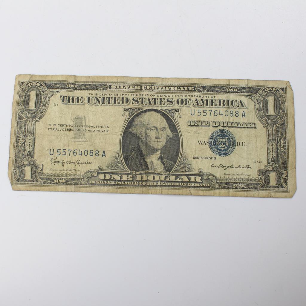 1957 B Silver Certificate Us Dollar Bill Property Room