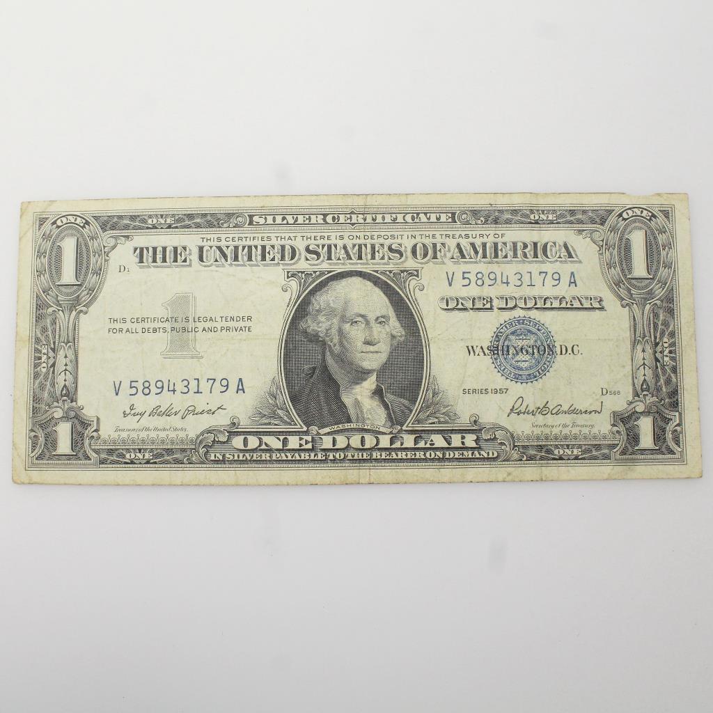 1957 Us Silver Certificate Dollar Bill Property Room
