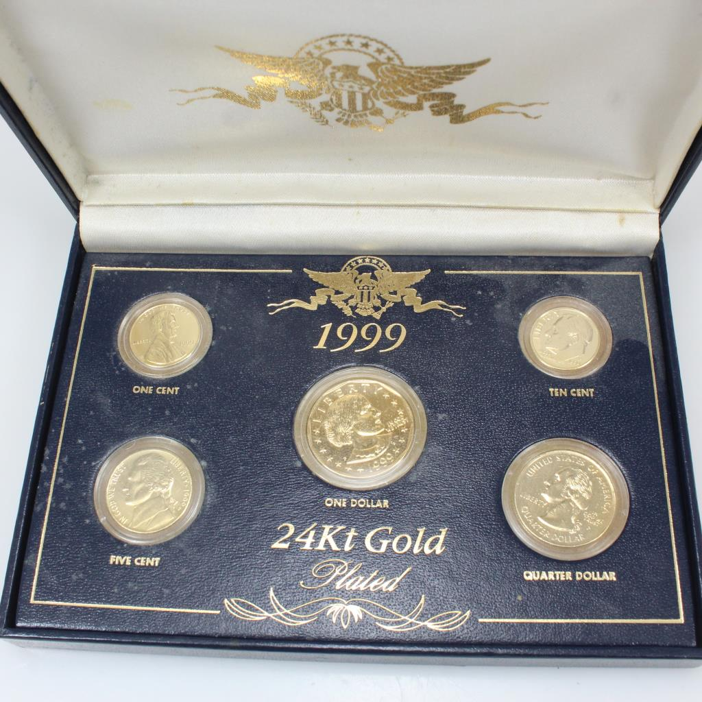 1999 24kt Gold Plated Coin Set & 1999 24kt Gold Plated Coin Set | Property Room