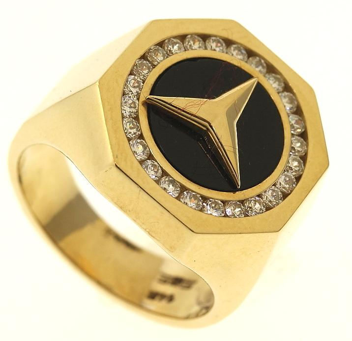 11 3 Gram 14kt Yellow Gold Mercedes Benz Logo Ring With