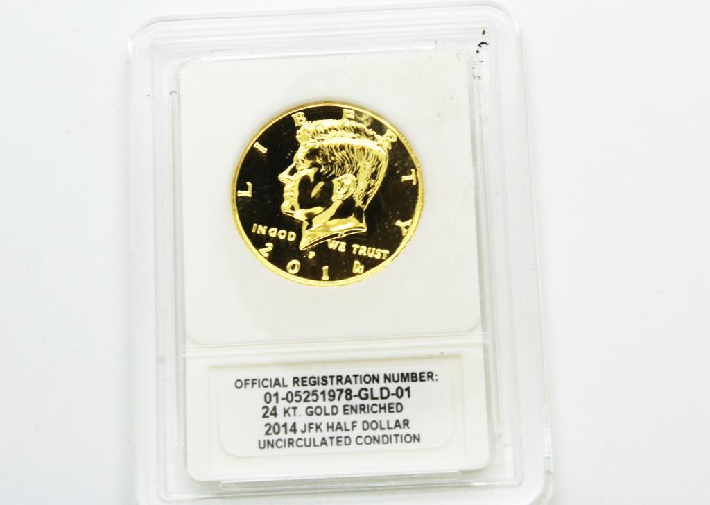 Gold Enriched 2014-D JFK Half Dollar Uncirculated 24KT