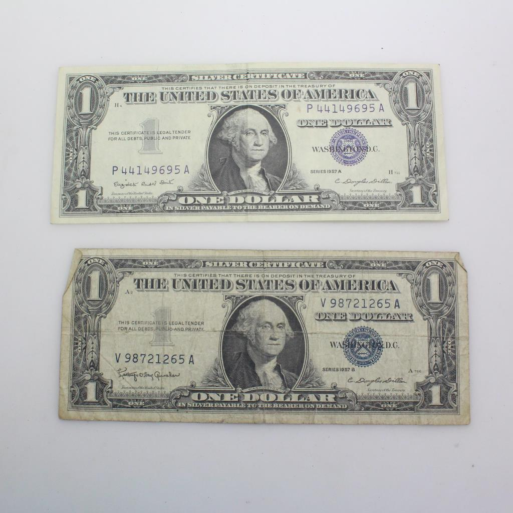 2 Silver Certificate Dollar Bills Property Room
