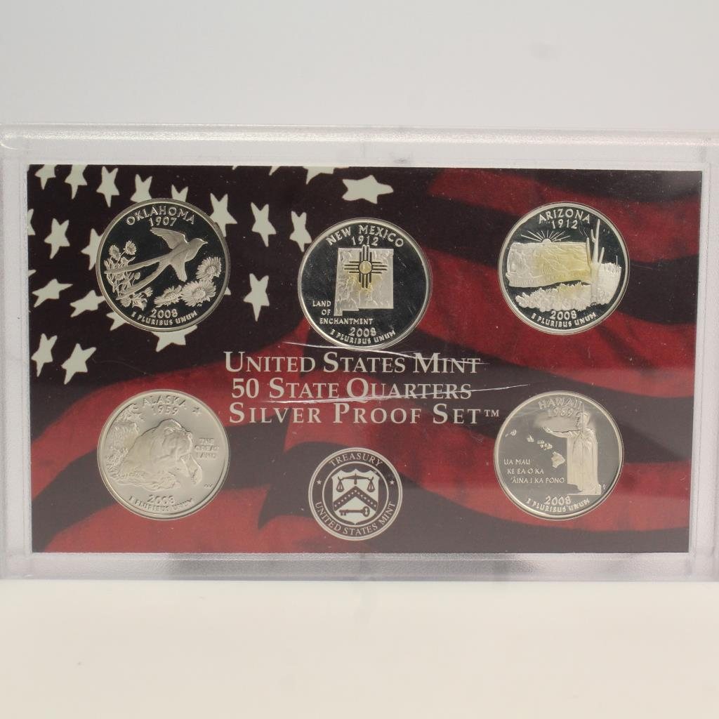 2004 United States Mint 50 Quarters SILVER Proof Set Free Ship 5 Coins,Coa