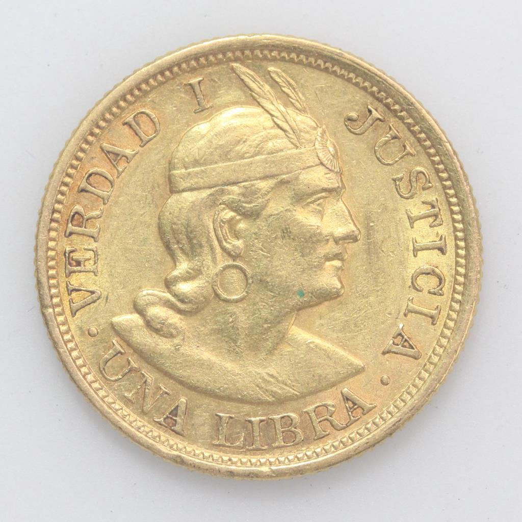 22kt Gold 8g Peru 1906 Una Libra Coin   Property Room
