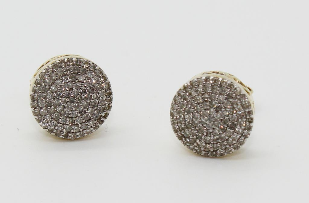 2 4g 10kt Gold Earrings With Diamond Chip Accents