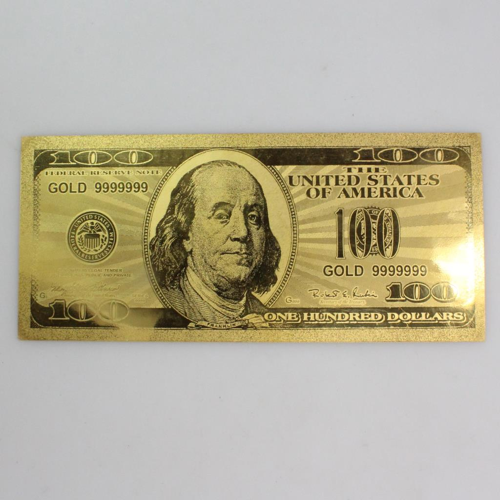 24kt Gold Plated 100 Dollar Bill Certificate Property Room