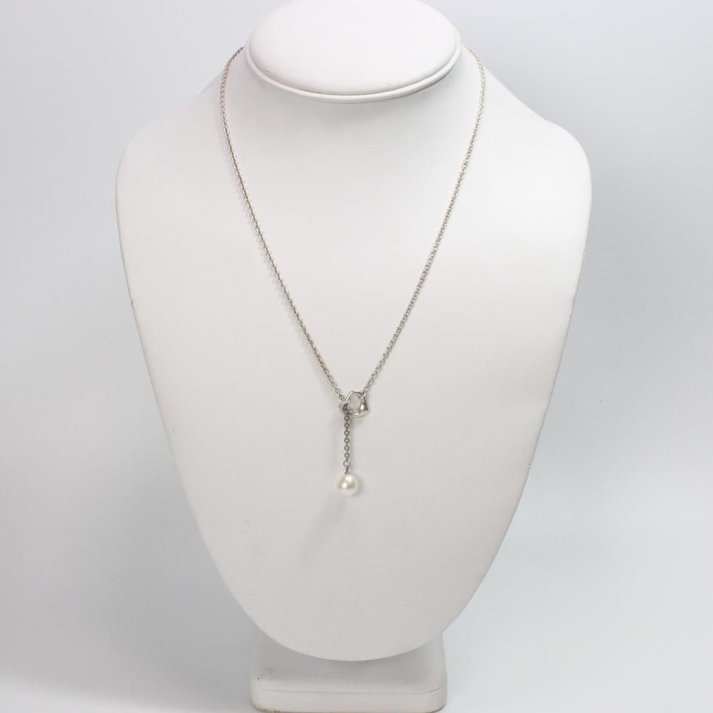 3eadf6adb Image 1 of 3. 5.78g Silver Tiffany & Co Elsa Peretti Open Heart Lariat  Necklace With Pearl