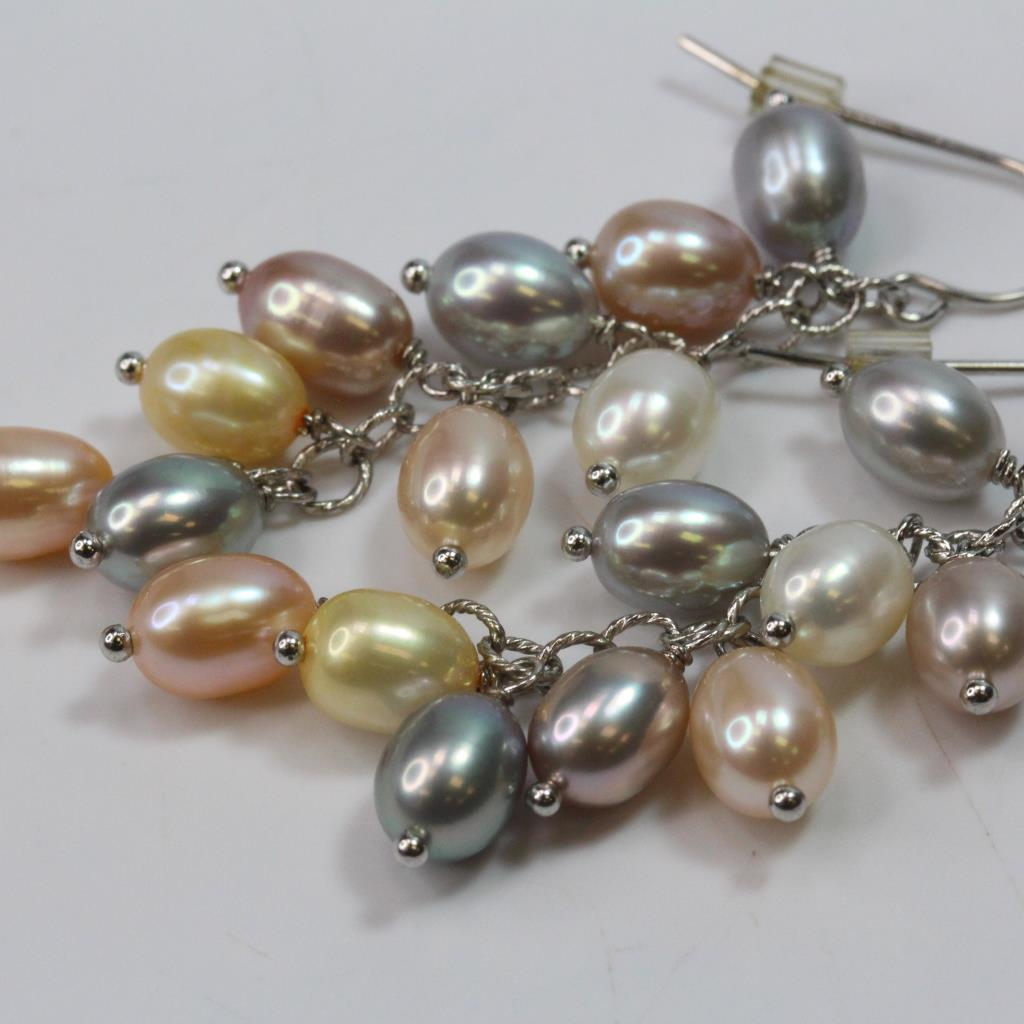 8 82g Silver Earrings With Multicolored Pearls