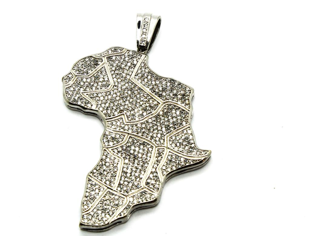 882g sterling silver africa pendant with clear stones property room 882g sterling silver africa pendant with clear stones aloadofball Images