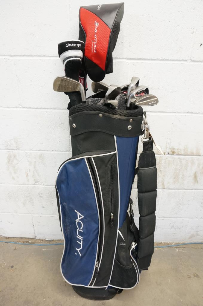 Acuity Golf Bag With Assorted Left Handed Clubs