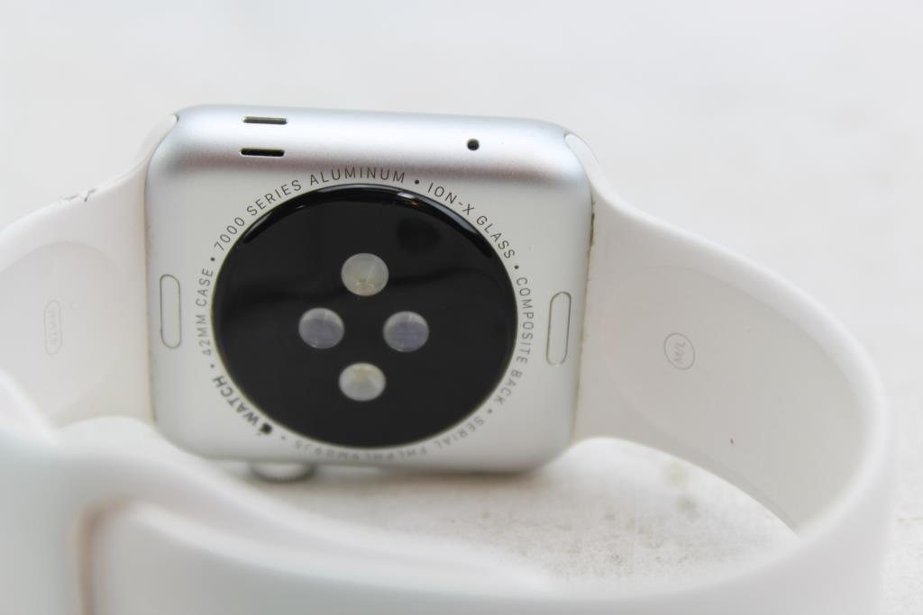 Apple Watch 7000 Series, 42mm Aluminum, White Sports Band ...